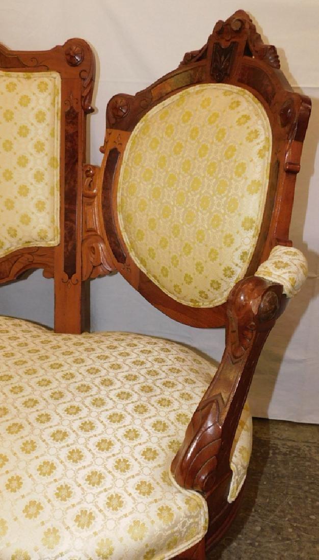 Walnut Victorian 3 section back sofa - 2