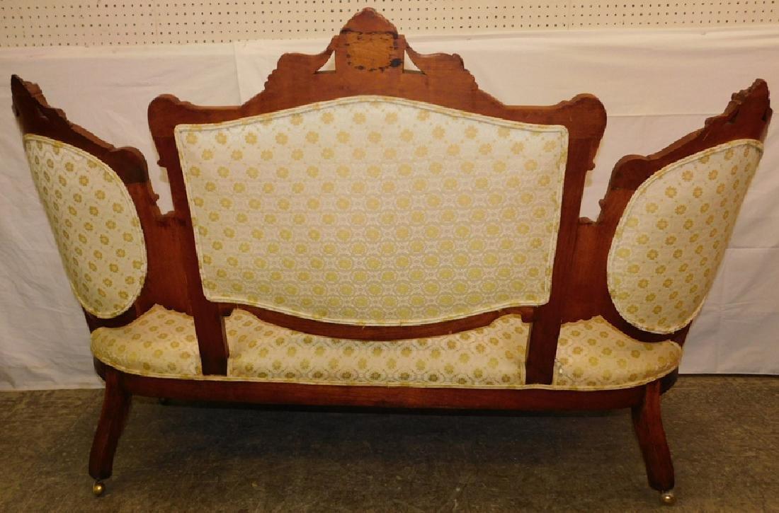 Walnut Victorian 3 section back sofa - 4