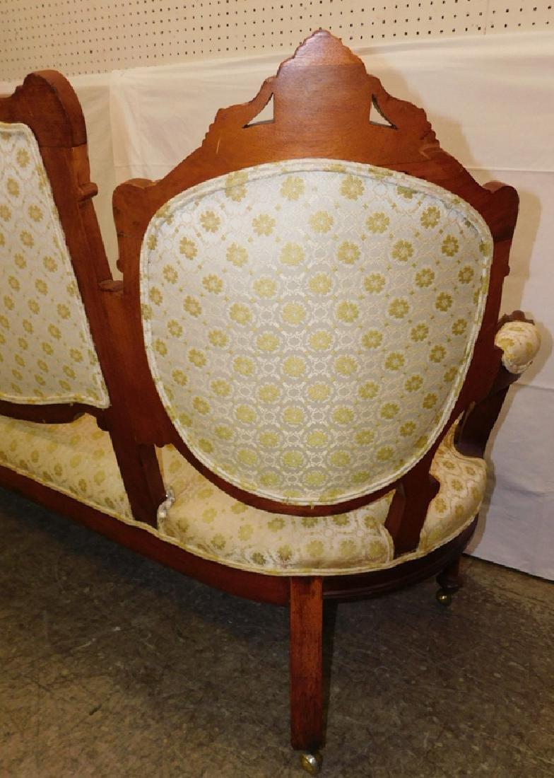 Walnut Victorian 3 section back sofa - 5