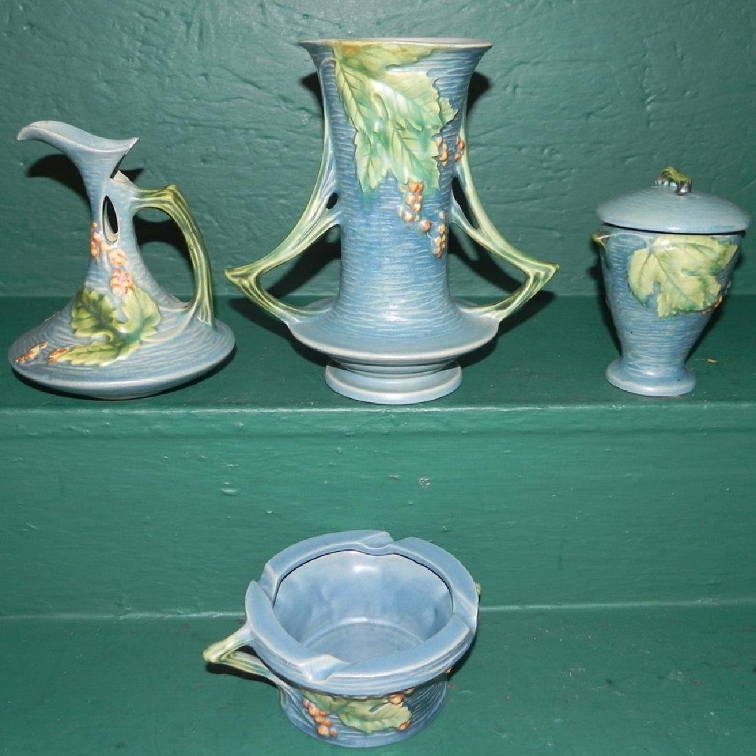 4 pieces of Roseville Bushberry pottery