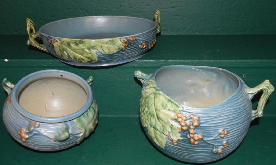 3 pieces of Roseville Bushberry pottery