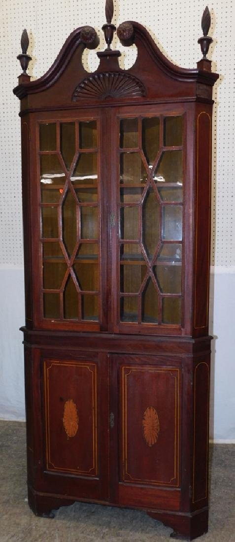 Glass front mahogany inlaid corner cupboard