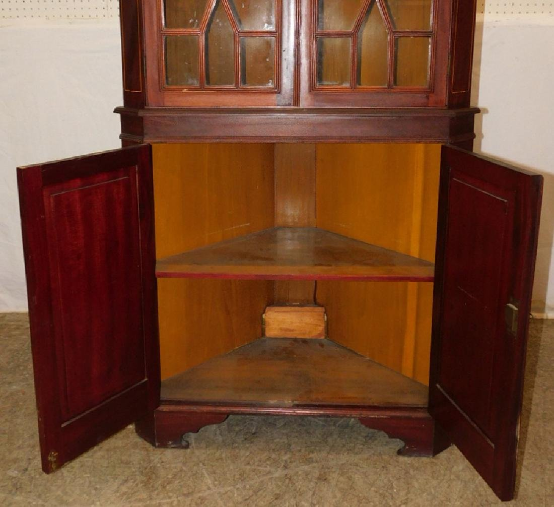 Glass front mahogany inlaid corner cupboard - 2