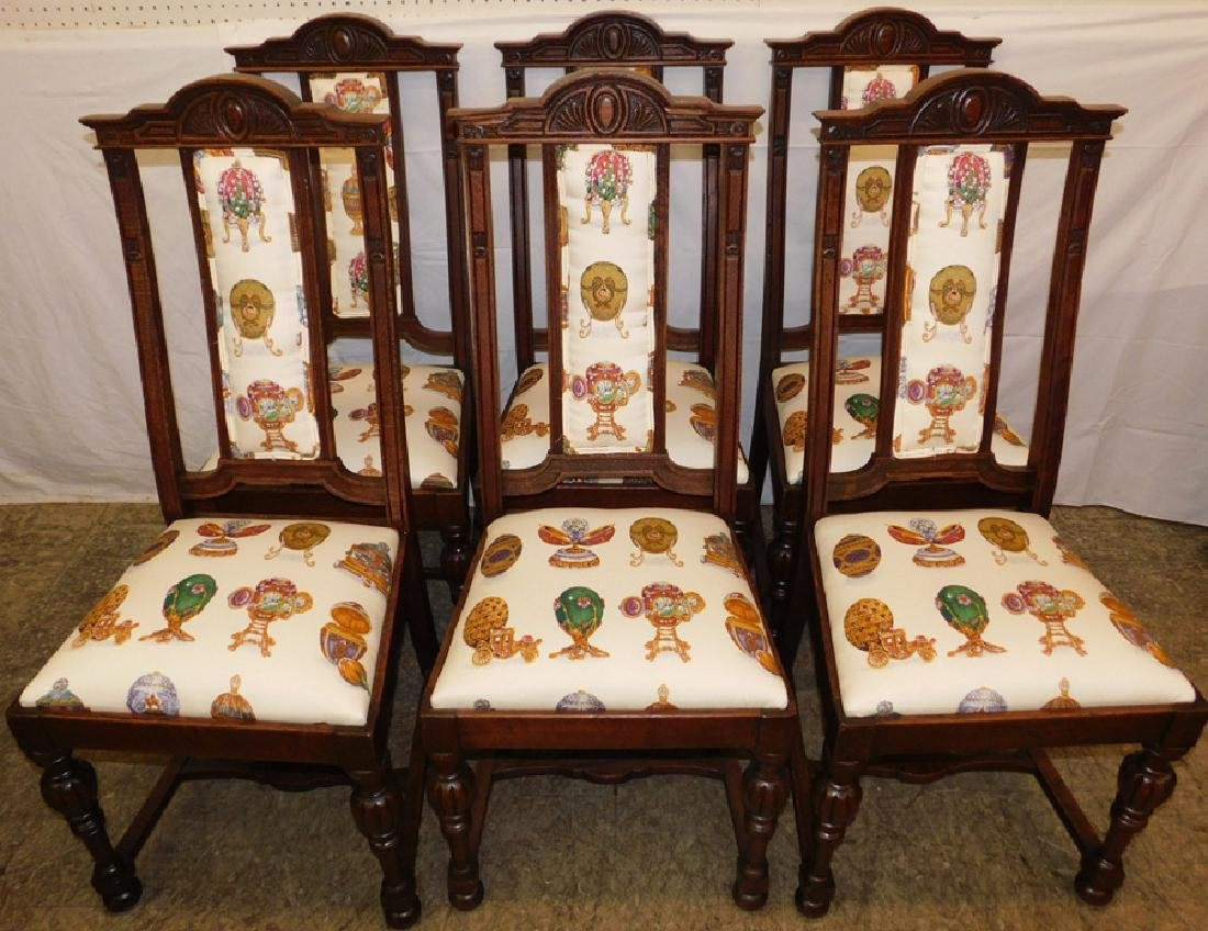 Set of 6 Edwardian oak dining chairs