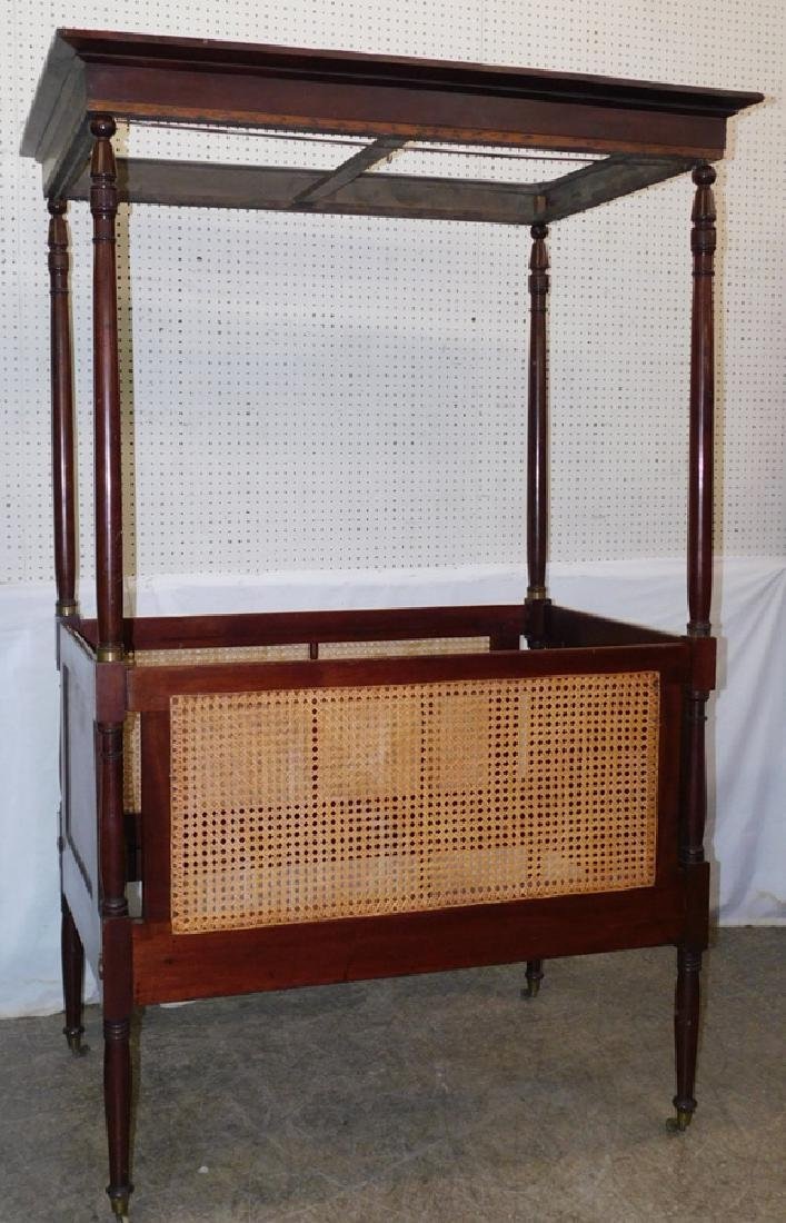 Caned canopy 4 poster baby bed
