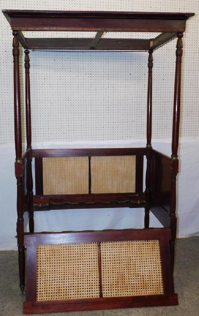 Caned canopy 4 poster baby bed - 4