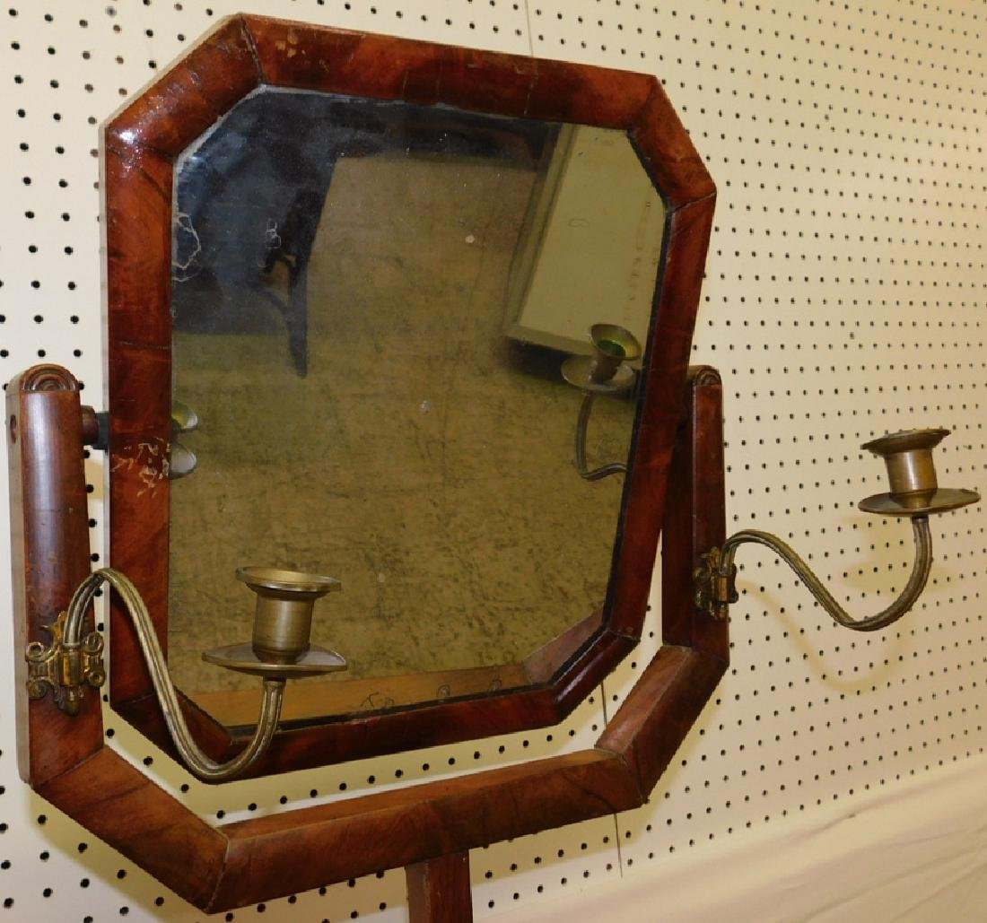 Mah dressing mirror on stand w/ sconces - 3