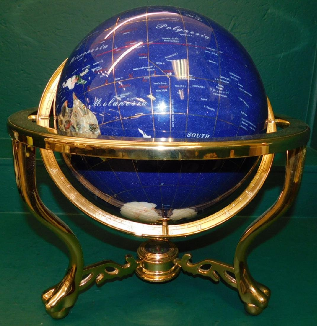 Modern globe with brass frame - 2