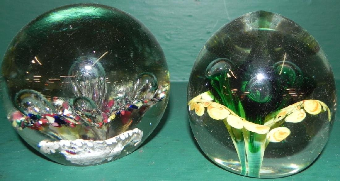 2 glass paper weights - 2