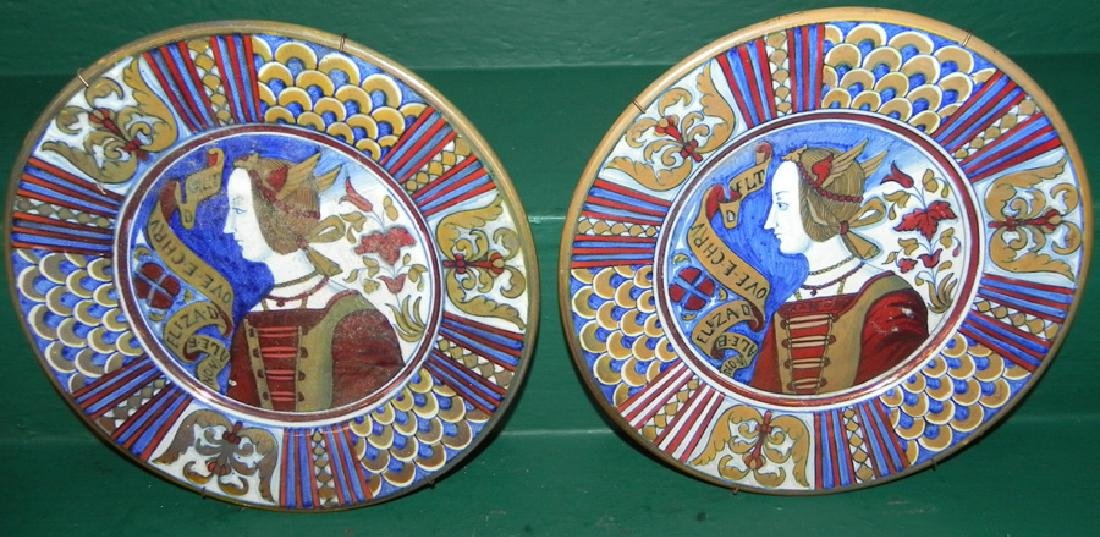 2 Italian decorated plates