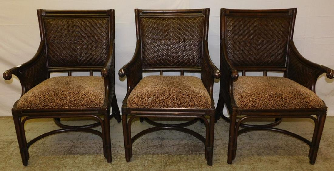 3 bamboo and cane arm chairs