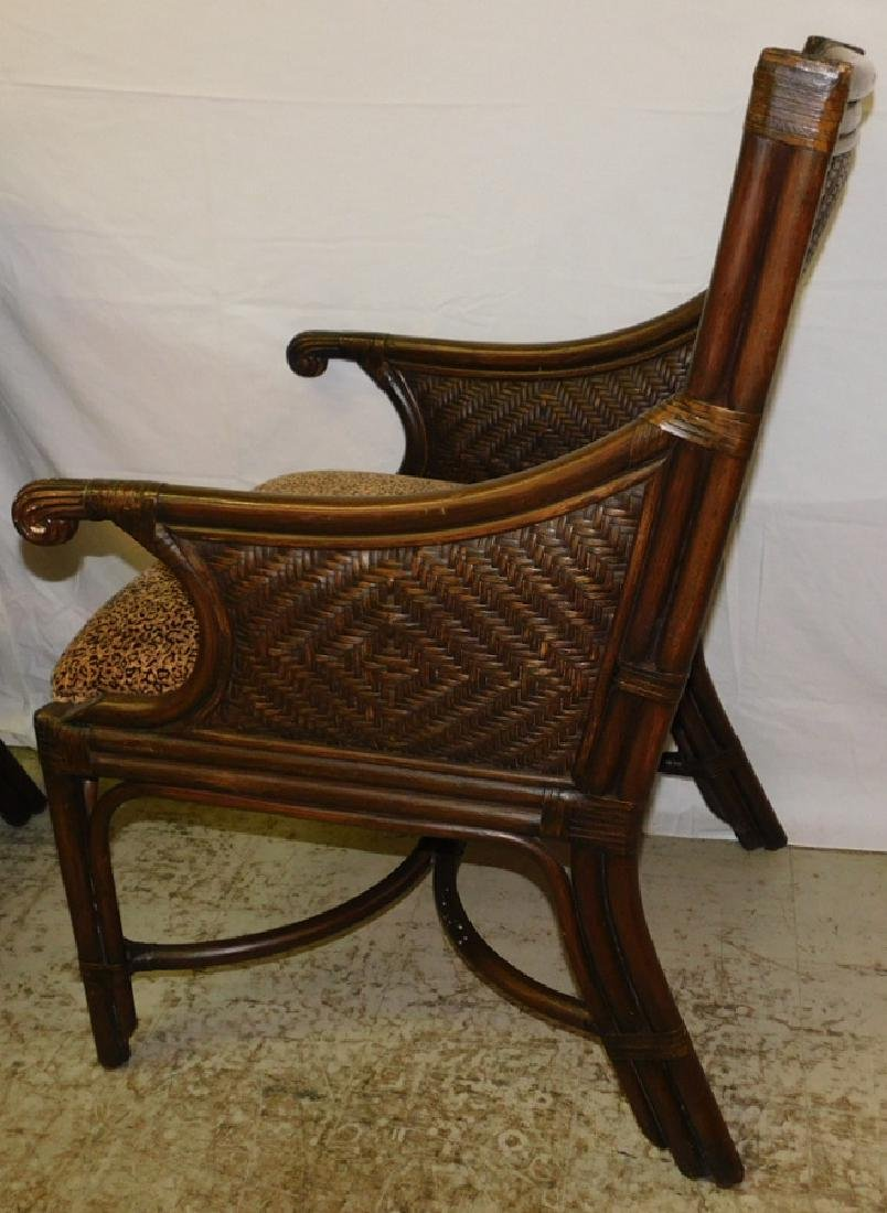 3 bamboo and cane arm chairs - 2