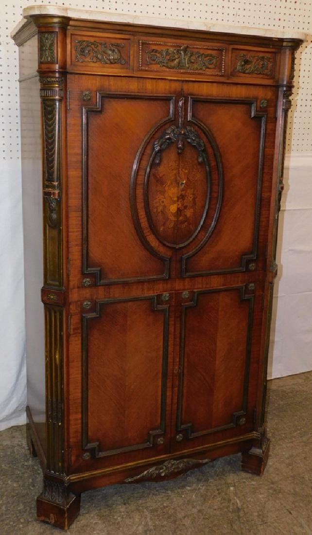 French walnut inlaid marble top linen press