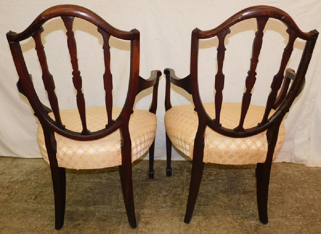Pair of Hepplewhite shield back arm chairs - 4