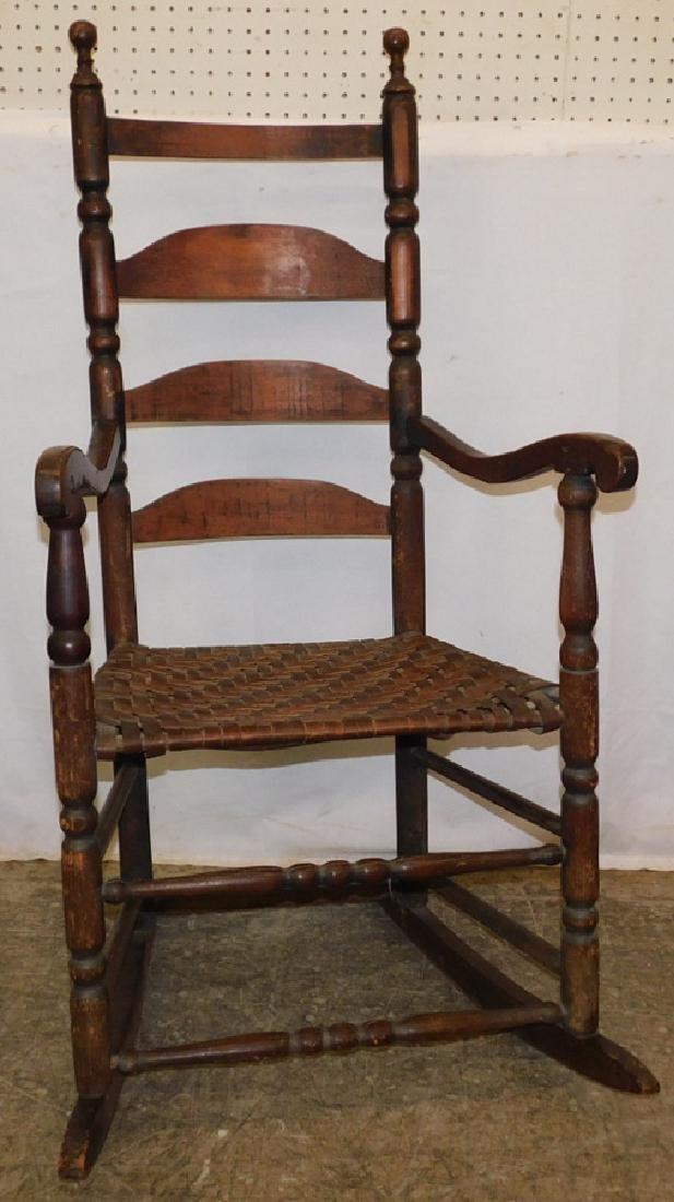 Ladder back basket weave seat rocking chair