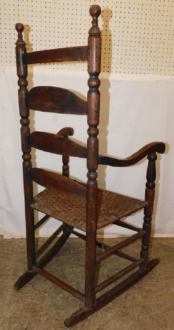 Ladder back basket weave seat rocking chair - 3