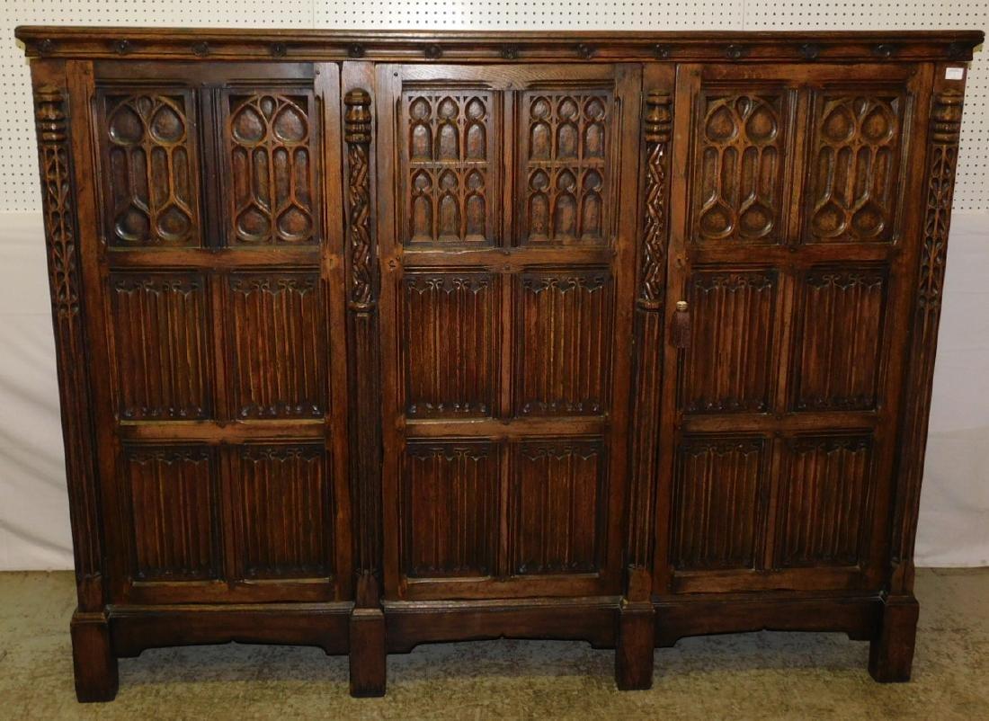 Jacobean style English oak armoire