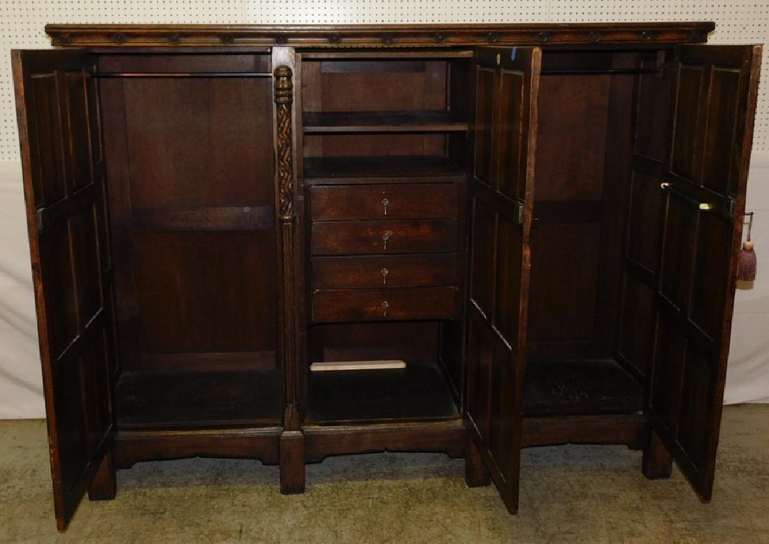 Jacobean style English oak armoire - 3
