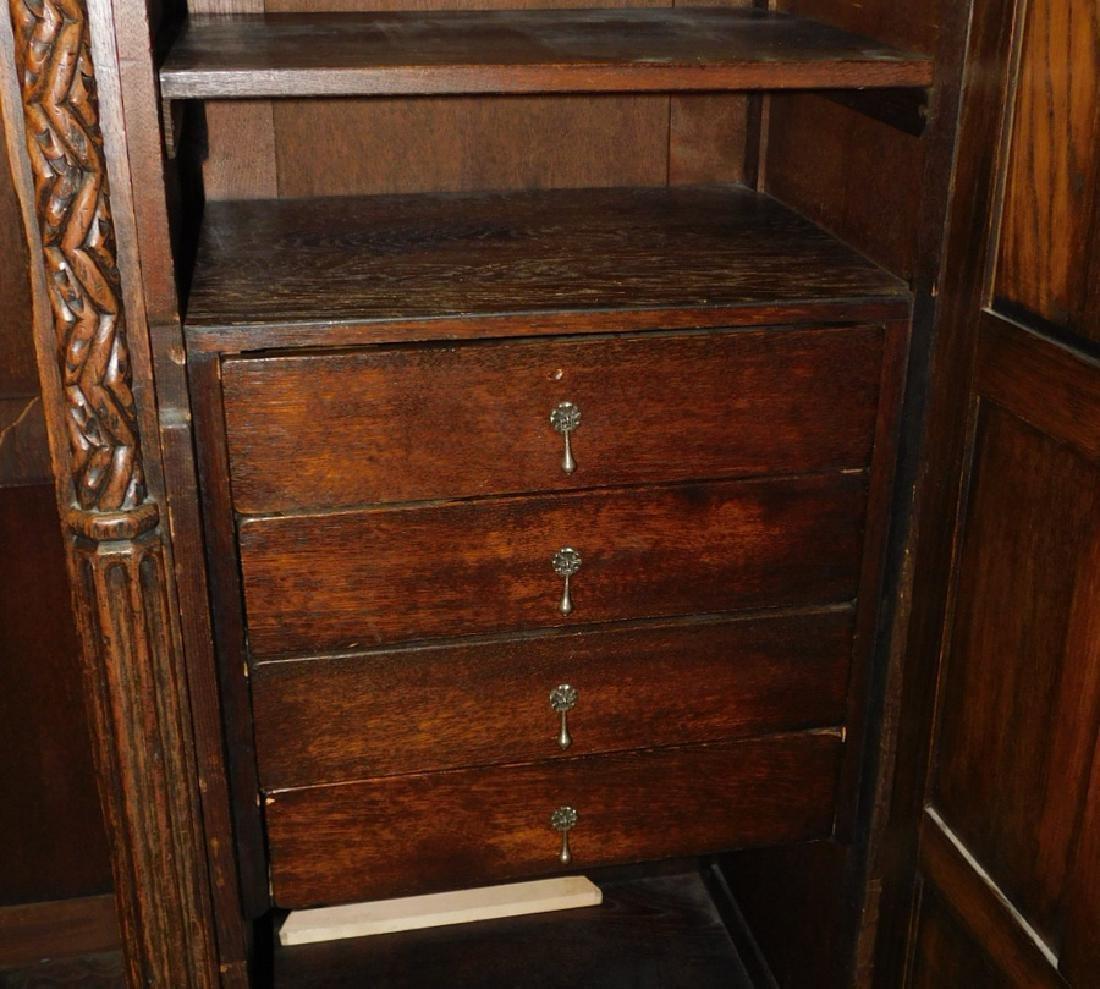 Jacobean style English oak armoire - 4