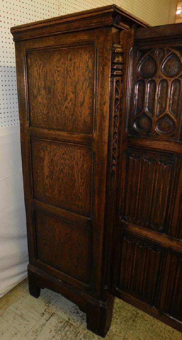 Jacobean style English oak armoire - 5