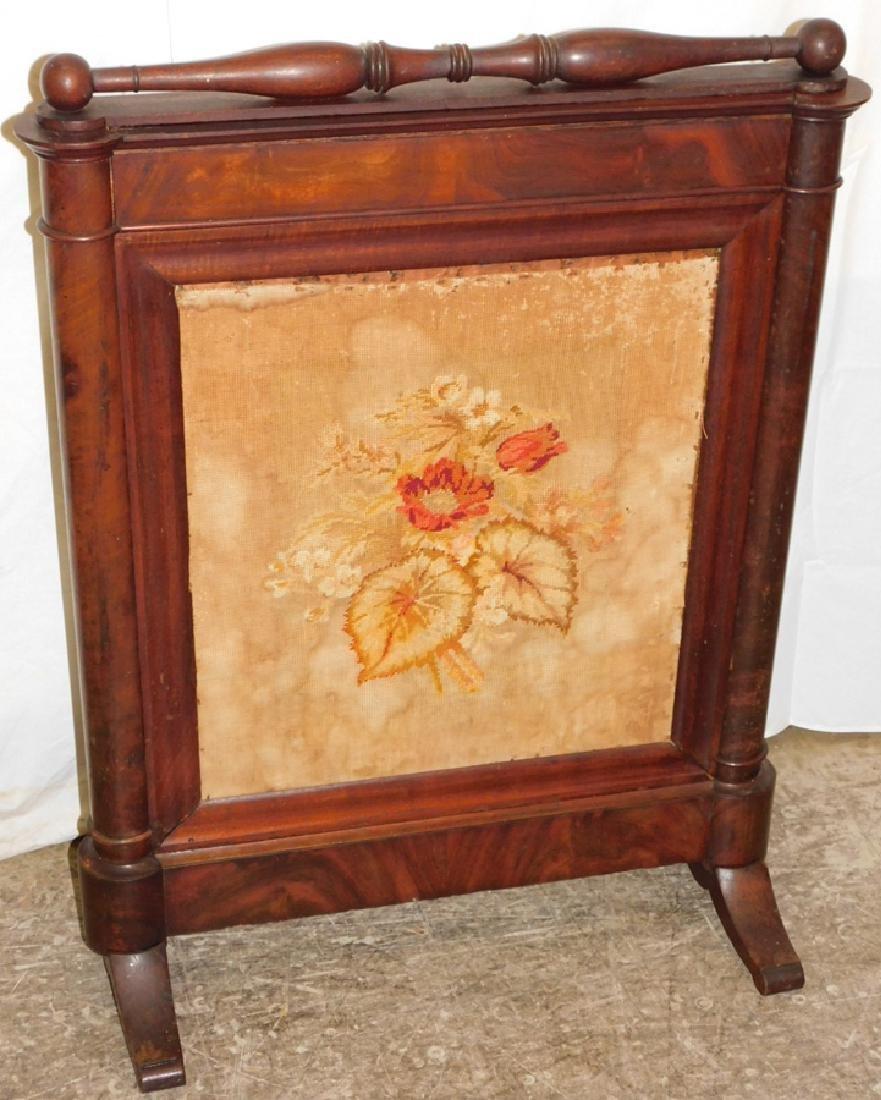 Needlepoint Empire mahogany firescreen