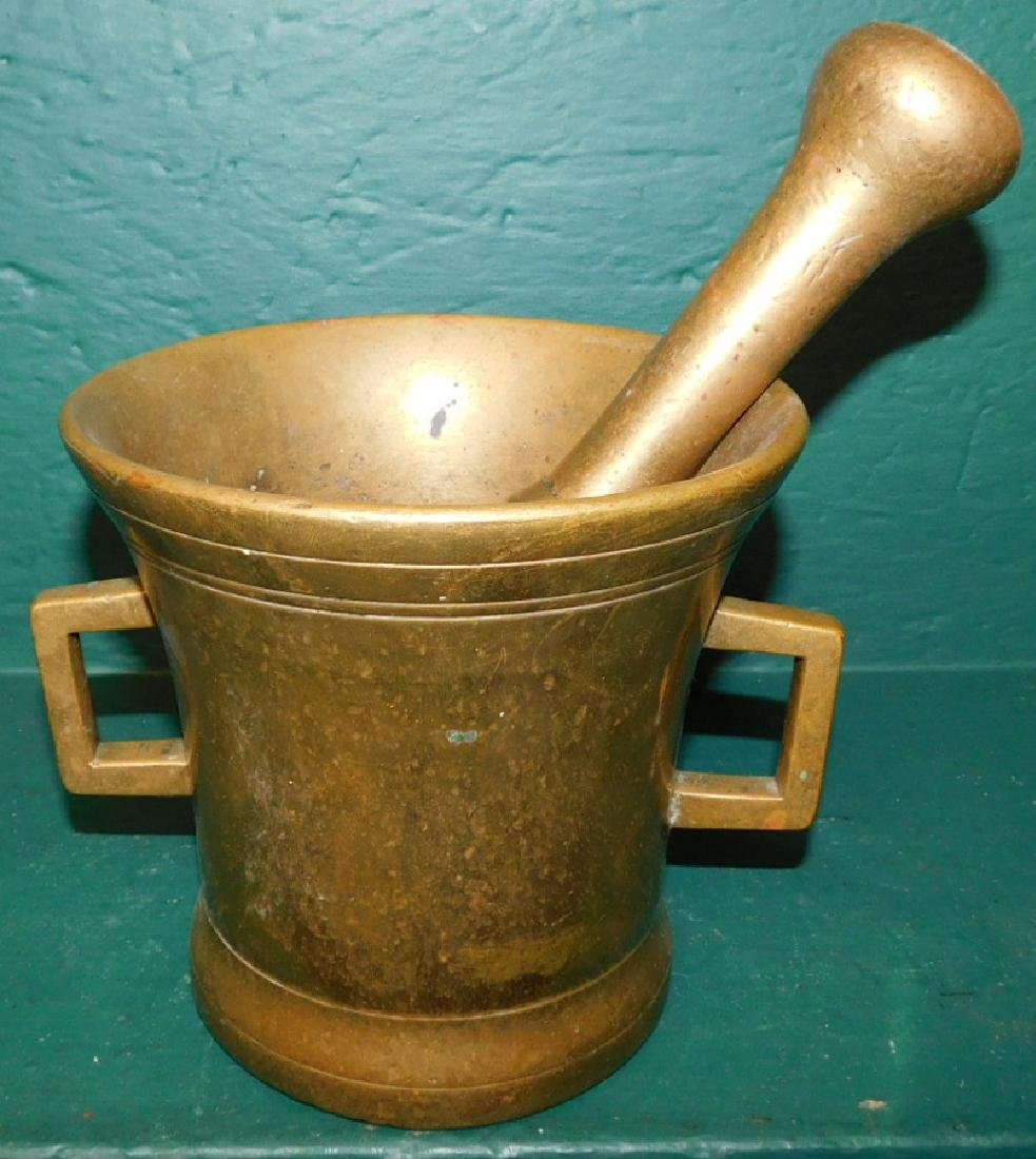 Heavy cast 19th C brass mortar and pestle
