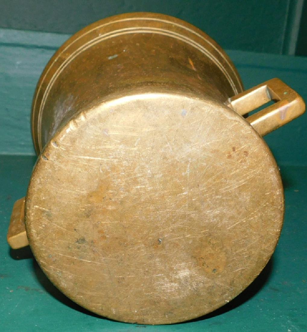 Heavy cast 19th C brass mortar and pestle - 3
