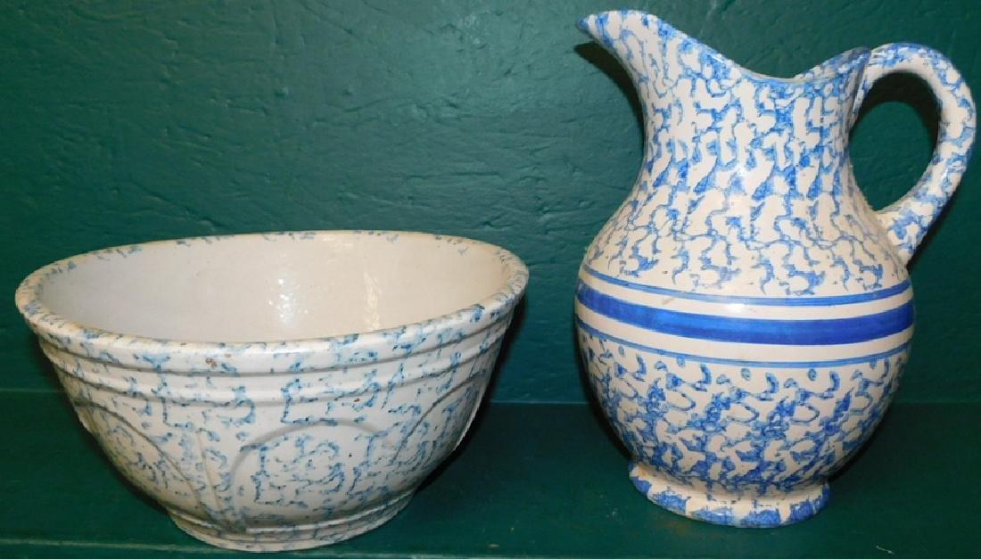 Salt glaze spatterware pitcher and bowl