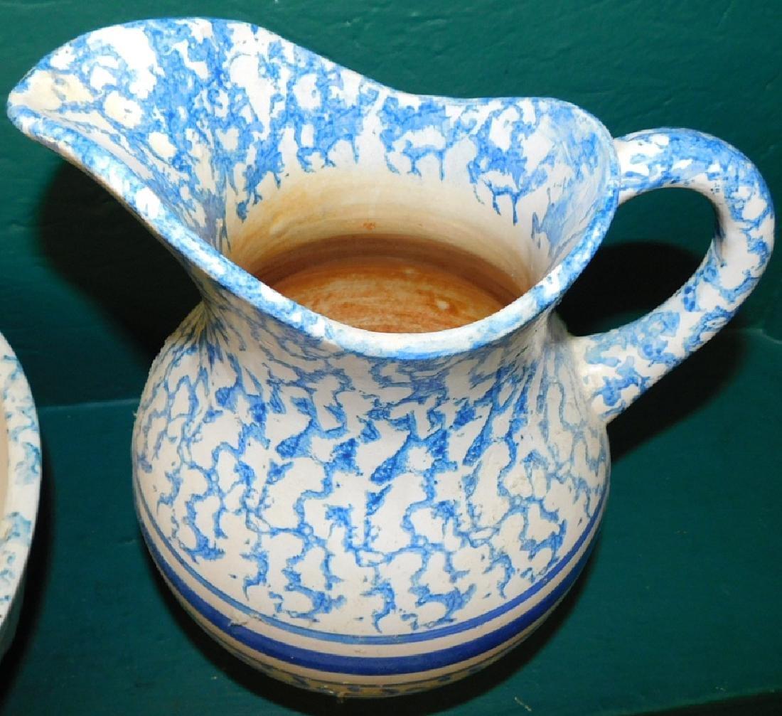 Salt glaze spatterware pitcher and bowl - 3