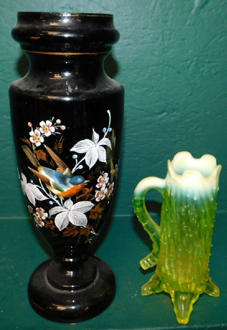 Black pntd Bristol gl vase & vaseline pitcher