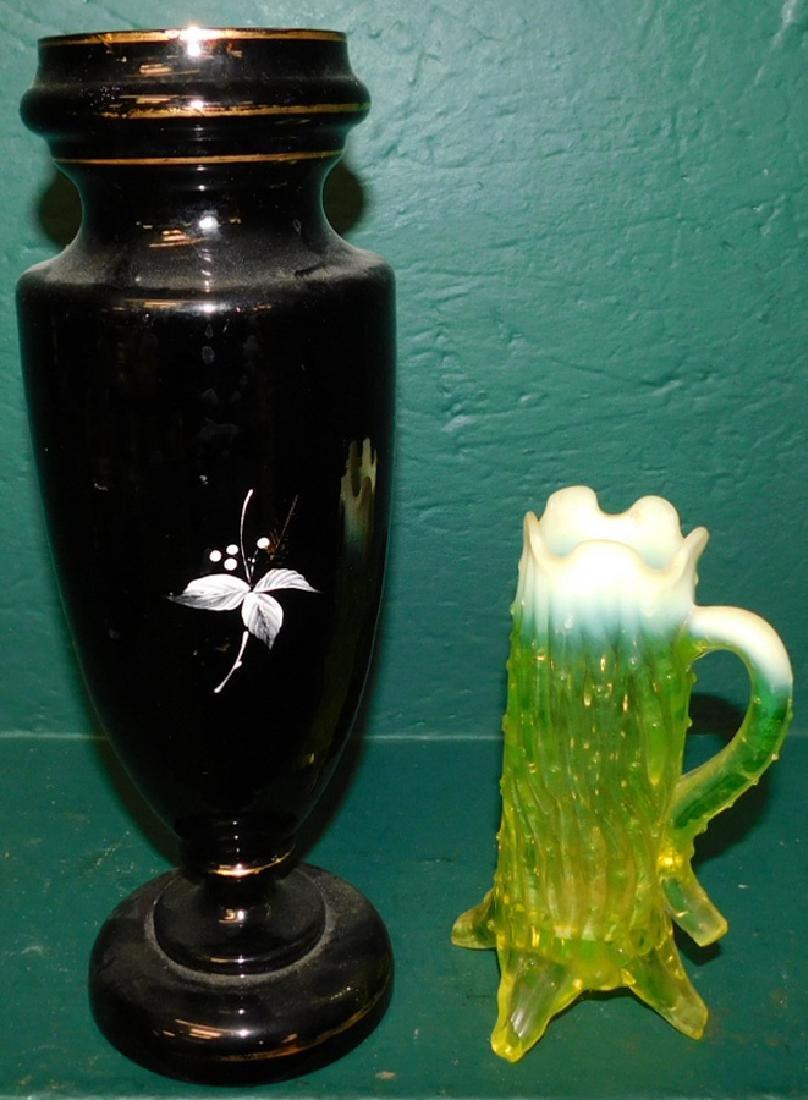 Black pntd Bristol gl vase & vaseline pitcher - 2