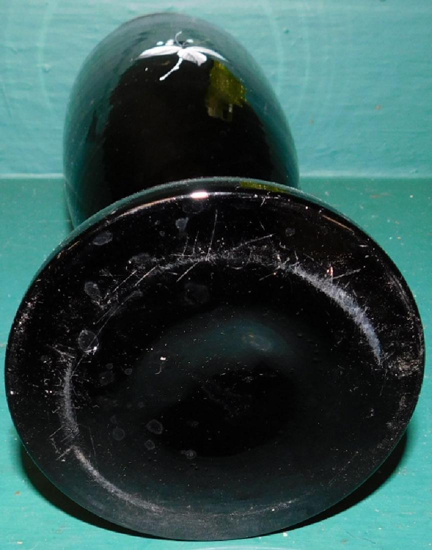 Black pntd Bristol gl vase & vaseline pitcher - 3