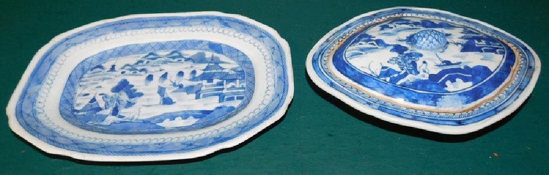 19th C Canton covered vegetable &  platter