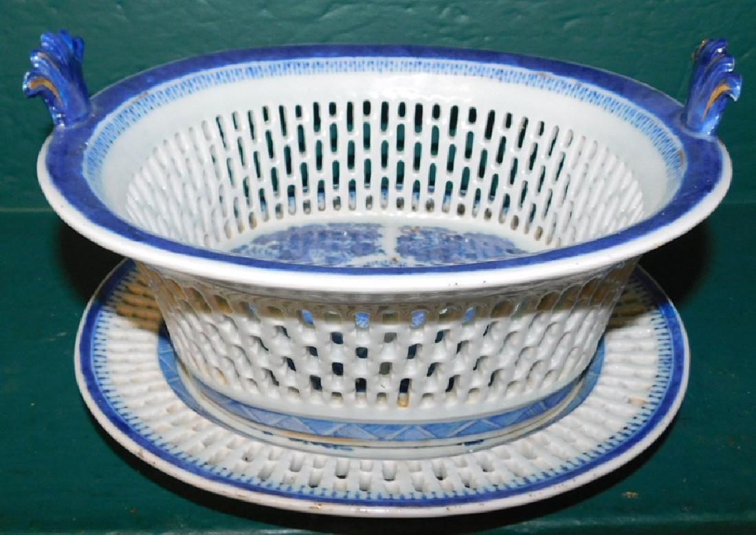 19th C Fitzhugh chestnut basket w/ underplate