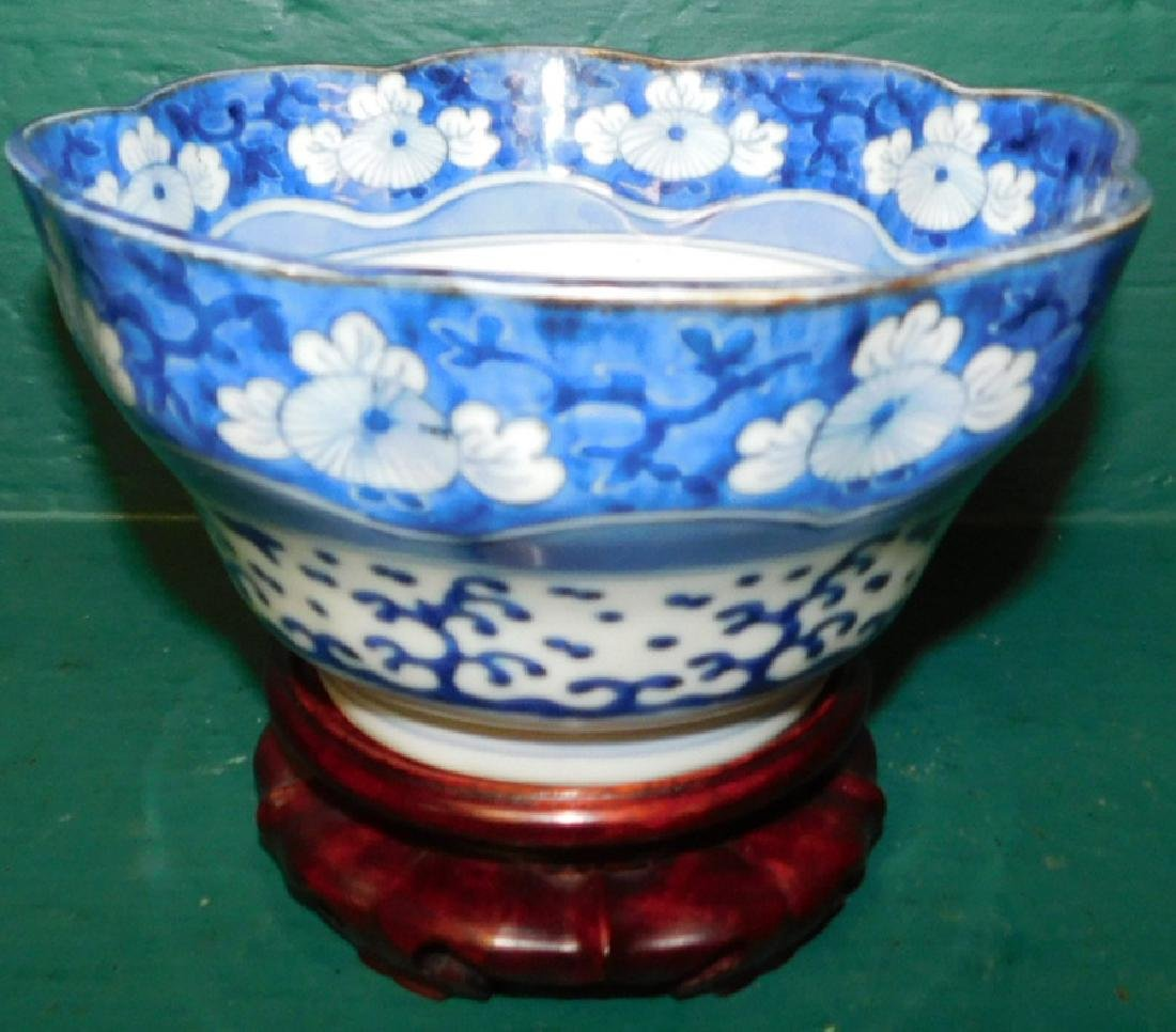 Chinese B & W scalloped edge bowl on stand