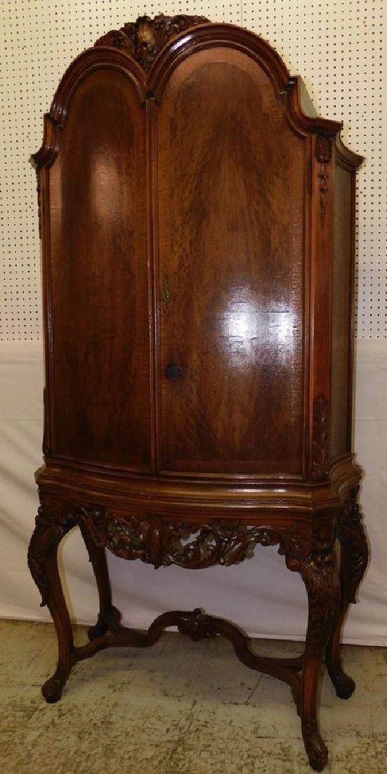 Bowfront plum pudding mahogany Fr cabinet