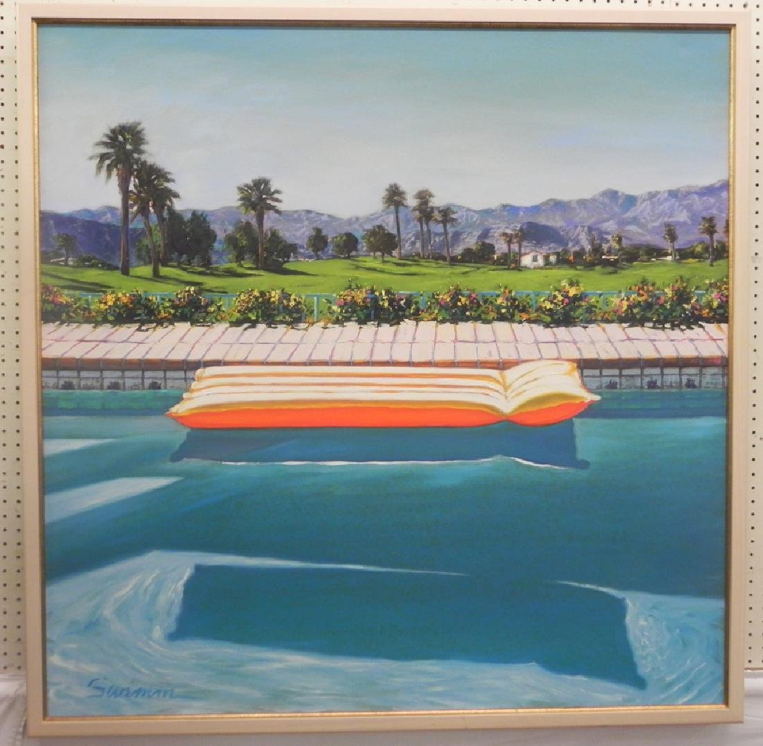 Large painting of a swimming pool signed