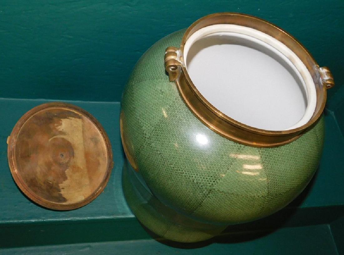 Oriental brass top faux chagrin urn - 3