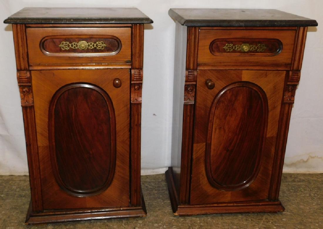 Pair of marble top end table commodes
