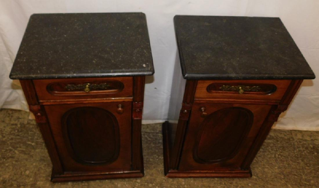 Pair of marble top end table commodes - 2