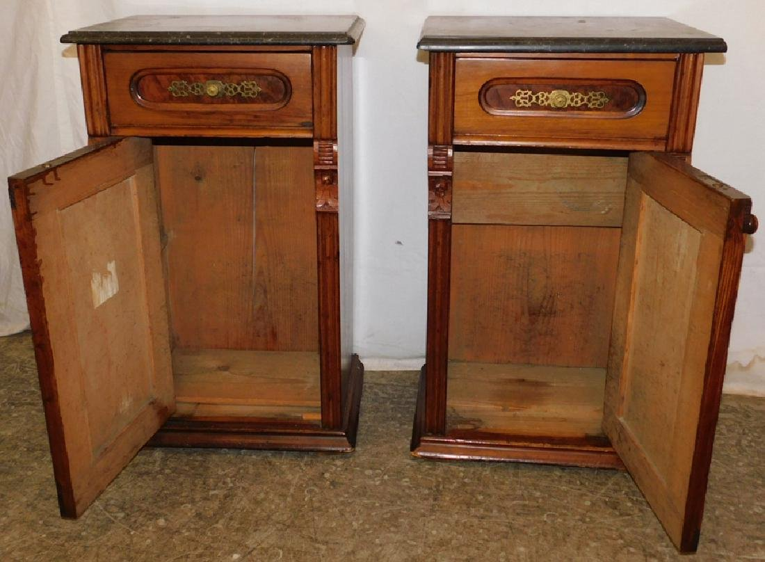 Pair of marble top end table commodes - 3