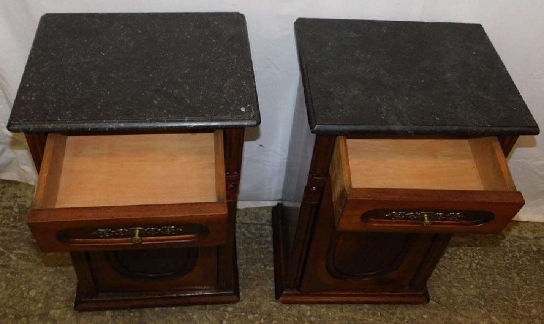 Pair of marble top end table commodes - 4