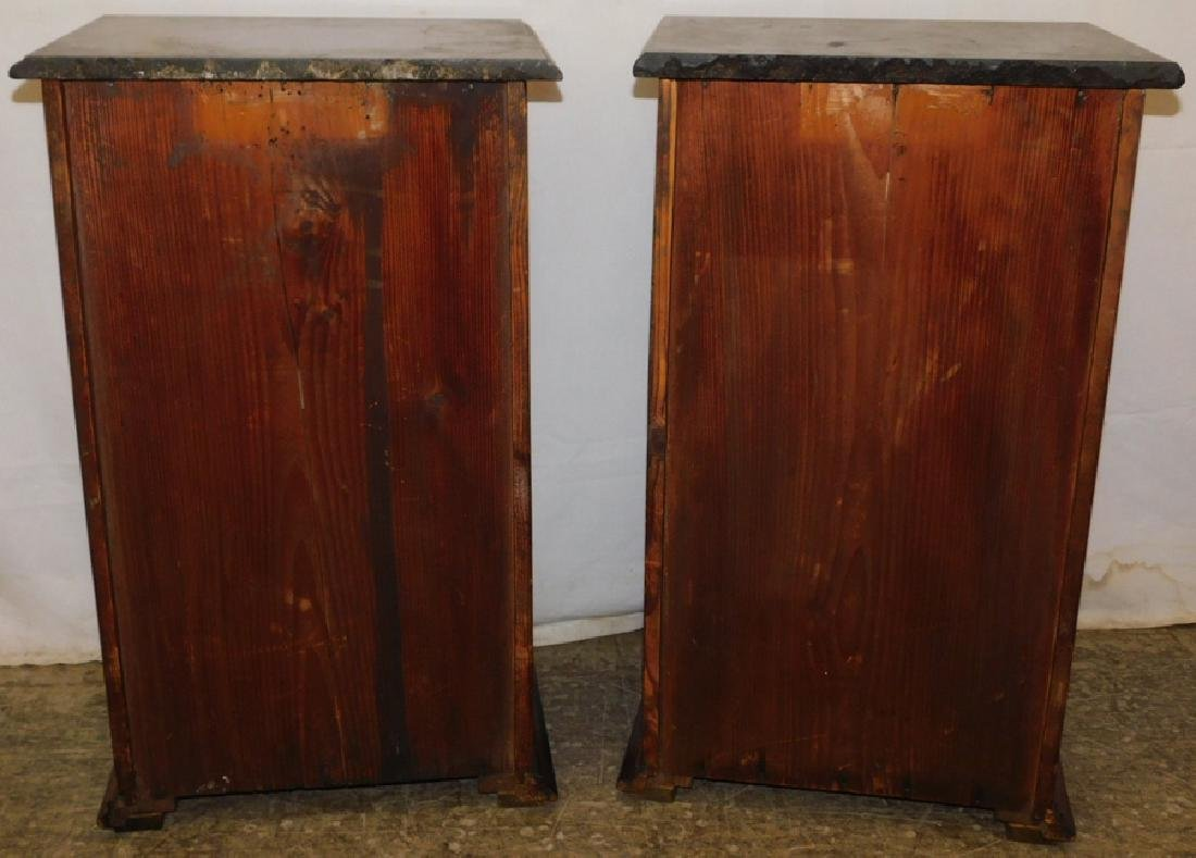 Pair of marble top end table commodes - 5