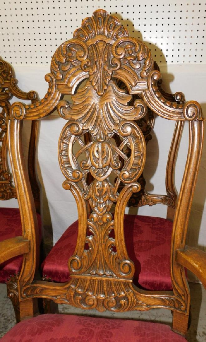 Set of 6 Quarter Sawn oak dining chairs - 2