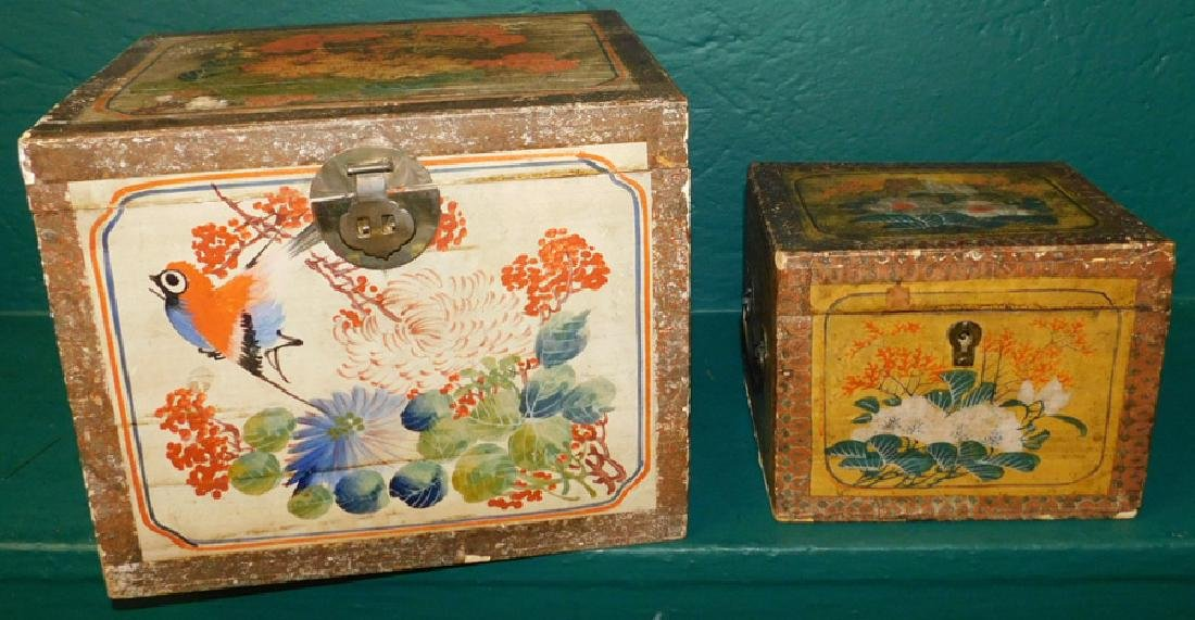 2 19th C paint dec Chinese document boxes