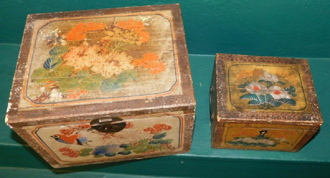 2 19th C paint dec Chinese document boxes - 2