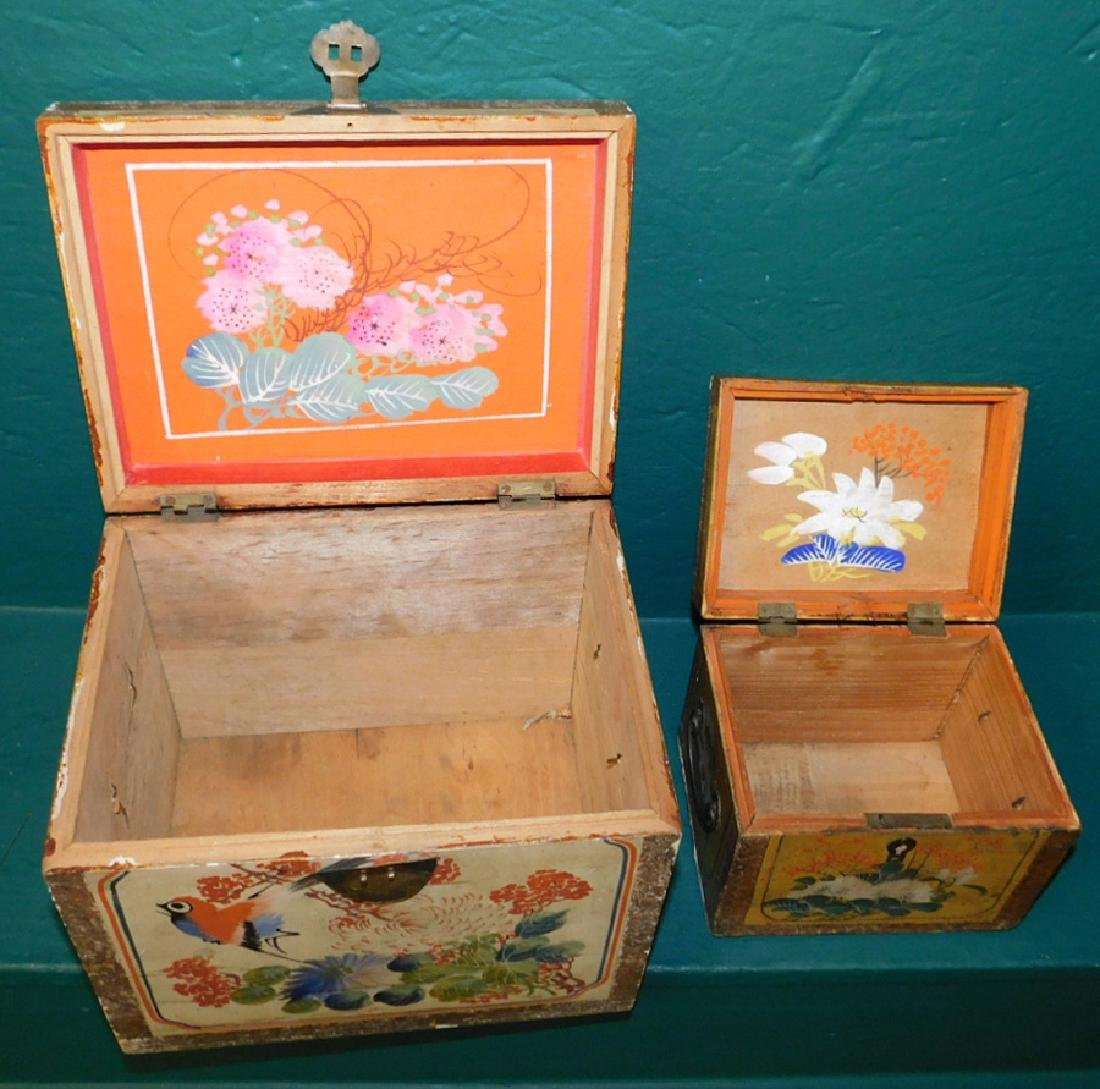 2 19th C paint dec Chinese document boxes - 3