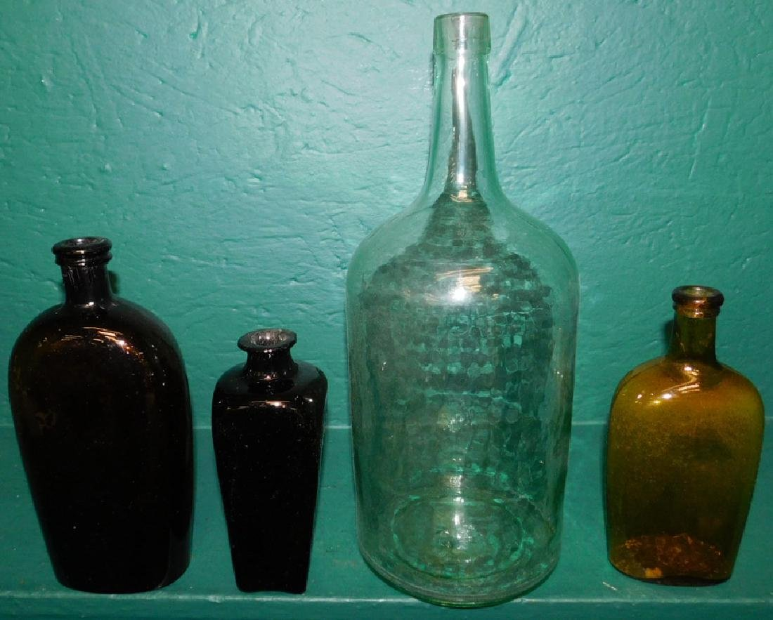 3 early glass flasks and glass whiskey jug