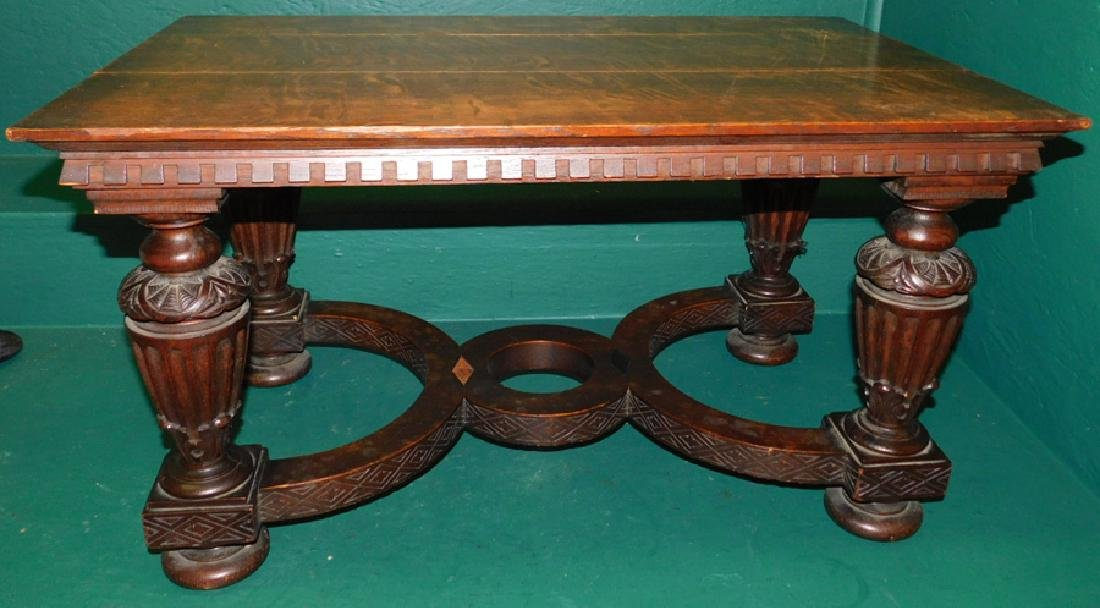 Quarter Sawn oak carved base coffee table