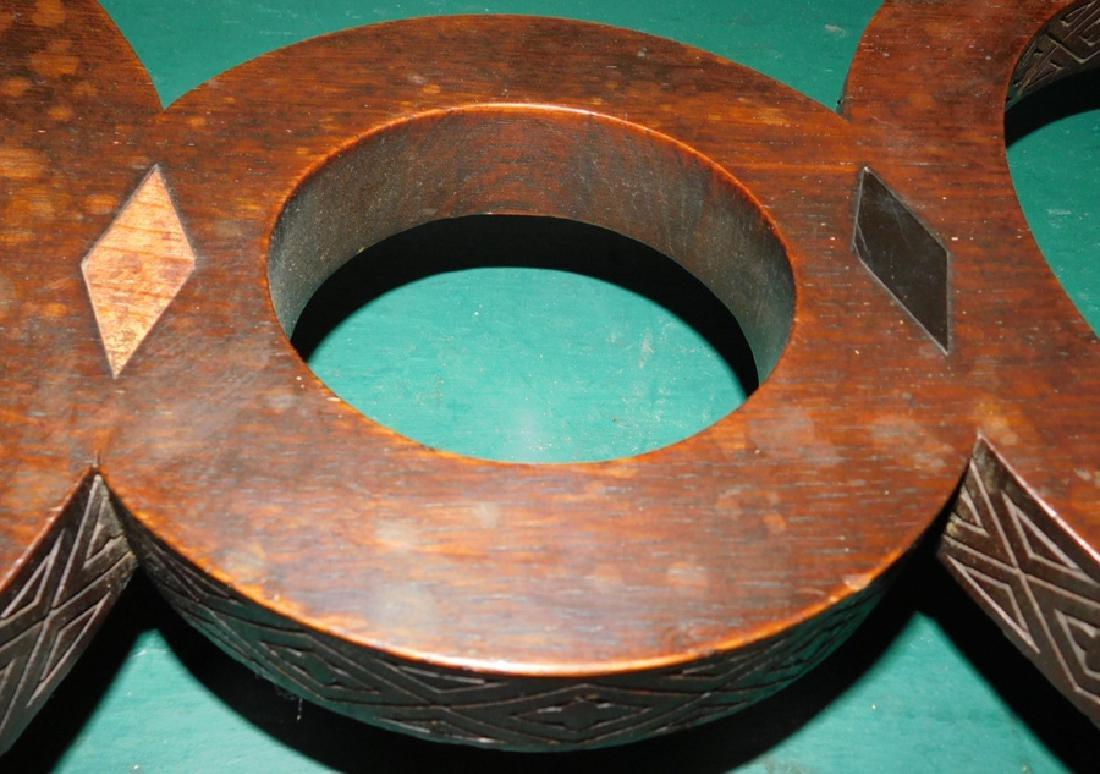 Quarter Sawn oak carved base coffee table - 3